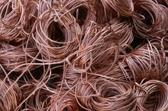 Recycling copper. Pile of bare copper coiles ready for recycling royalty free stock photos