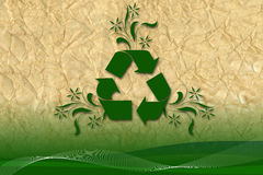 Recycling creative art on recycled paper. Recycling creative art on recycled sheet of paper Royalty Free Stock Images
