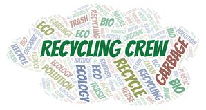 Recycling Crew word cloud. Wordcloud made with text only vector illustration