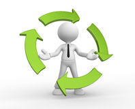 Recycling. 3d people - man, person and blank arrows in circle. Recycling Stock Images