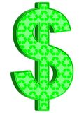 Recycling dollar. 3D rendering of Dollar sign overlaid with recycling symbols stock illustration