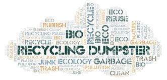 Recycling Dumpster word cloud. Wordcloud made with text only stock photo