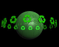 Recycling on earth 2. Recycling logo turning around a reflective earth Royalty Free Stock Photography