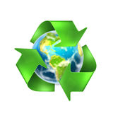 Recycling Earth. Computer illustration on white background Royalty Free Stock Photo