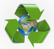 Recycling Earth. Recycle logo around planet Earth. Clipping path included for easy selection Stock Image