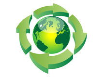Recycling the earth. Recycling earth icon - vector illustration Vector Illustration