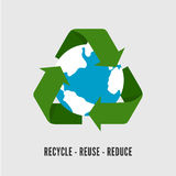Recycling Earth concept. Flat illustration of recycle arrows with planet globe isolated on white Royalty Free Stock Photography