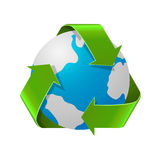 Recycling Earth concept. Realistic illustration of recycle arrows with planet globe isolated on white Stock Photography