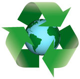Recycling Earth 3D. Arrow concepts cycle global Royalty Free Stock Photos