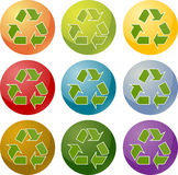Recycling eco icon set. Recycling eco symbol illustration icon set multiple colors Royalty Free Stock Photos