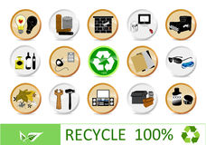 Recycling eco icons Stock Photo