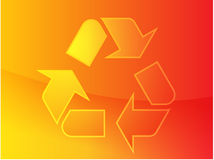 Recycling eco symbol. Illustration of three pointing arrows Stock Photos