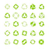 Recycling ecology thin line icon set. Protection of the environment and nature linear sign. Ecological symbols for infographic, website or app Royalty Free Stock Images