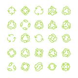 Recycling ecology thin line vector icon set. Protection of the environment and nature linear sign. Ecological symbols for infographic, website or app Stock Images