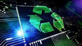 Recycling electro-waste symbol loopable 3d animation