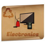 Recycling electronics memo. /Retro recycling banner with electronic devices Royalty Free Stock Image