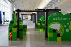 Recycling exhibit at Hong Kong International Airport concourse Royalty Free Stock Images