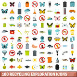 100 recycling exploration icons set, flat style. 100 recycling exploration icons set in flat style for any design vector illustration Royalty Free Stock Image