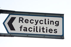 Recycling facilities. Signage for recycling facilities, UK Stock Photos