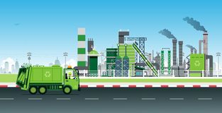 Recycling of factory waste. Garbage Truck recycles waste into electric power in factories royalty free illustration