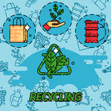 Recycling flat concept icons. Set of flat design concept icons for web and mobile phone services and apps. Icons for ecology, think green, recycle and save the Royalty Free Stock Photos