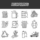 Recycling flat icons set Stock Images