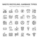 Recycling flat line icons. Pollution, recycle plant. Garbage sorting types - paper, glass, plastic, metal, flammable. Trash. Thin linear signs for waste royalty free illustration