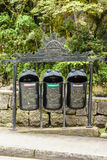 Recycling garbage bins in Aguas calientes,Cusco, Peru Royalty Free Stock Photography