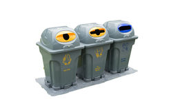 Recycling and garbage bins /isolated Stock Photography