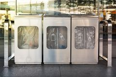 Recycling and garbage bins. Recycling and garbage bins in airport Stock Photo