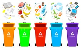 Recycling garbage elements. Bag or containers or cans for different trashes. Sorting and Utilize food waste. Ecology. Symbol Segregation Separation and Industry royalty free illustration