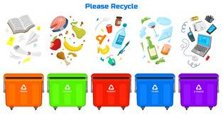 Recycling garbage elements. Bag or containers or cans for different trashes. Sorting and Utilize food waste. Ecology. Symbol Segregation Separation and Industry stock illustration