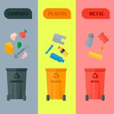 Different recycling garbage cards waste types sorting processing, treatment remaking trash utilize icons vector. Recycling garbage elements cards concept waste Stock Images