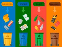 Different recycling garbage cards waste types sorting processing, treatment remaking trash utilize icons vector. Recycling garbage elements cards concept waste Royalty Free Stock Image