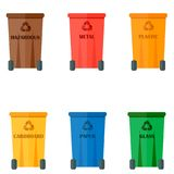 Different recycling garbage waste types sorting processing, treatment remaking trash utilize icons vector illustration. Recycling garbage elements concept and Royalty Free Stock Image