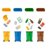 Different recycling garbage waste types sorting processing, treatment remaking trash utilize icons vector illustration. Recycling garbage elements concept and Royalty Free Stock Photo