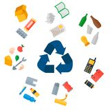 Different recycling garbage waste types sorting processing, treatment remaking trash utilize icons vector illustration. Recycling garbage elements concept and Stock Photo