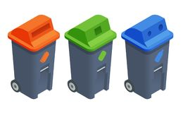 Recycling garbage elements. Sorting and processing of garbage. Utilize waste. Isometric colourful recycle trash bins closed isolated white vector set. Trash Stock Photos