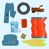 Recycling garbage elements trash bags tires management industry utilize concept and waste ecology can bottle recycling Royalty Free Stock Image