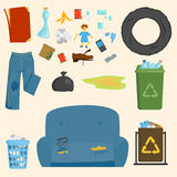 Recycling garbage elements trash bags tires management industry utilize concept and waste ecology can bottle recycling Stock Image