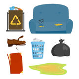 Recycling garbage elements trash bags tires management industry utilize concept and waste ecology can bottle recycling Stock Images