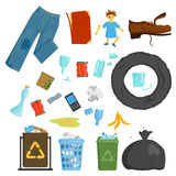 Recycling garbage elements trash bags tires management industry utilize concept and waste ecology can bottle recycling Stock Photo