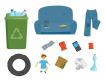 Recycling garbage elements trash bags tires management industry utilize concept and waste ecology can bottle recycling Stock Photography