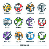 Recycling garbage elements trash bags tires management industry utilize waste can vector icons illustration. Recycling garbage elements trash bags tires vector illustration