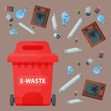 Recycling garbage elements trash bags tires management industry utilize waste can vector illustration. Stock Photo