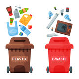Recycling garbage elements trash bags tires management industry utilize waste can vector illustration. Stock Image