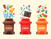 Recycling garbage elements trash bags tires management industry utilize waste can vector illustration. Stock Photos