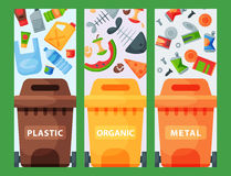 Recycling garbage elements trash bags tires management industry utilize waste can vector illustration. Stock Images