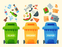 Recycling garbage elements trash bags tires management industry utilize waste can vector illustration. Recycling garbage elements trash bags tires management Royalty Free Stock Photos