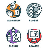 Recycling garbage elements trash bags tires management industry utilize waste can vector illustration. Recycling garbage elements trash bags tires management Royalty Free Stock Image
